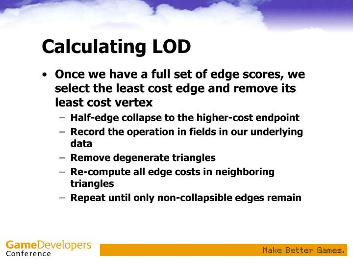 Calculating LOD
