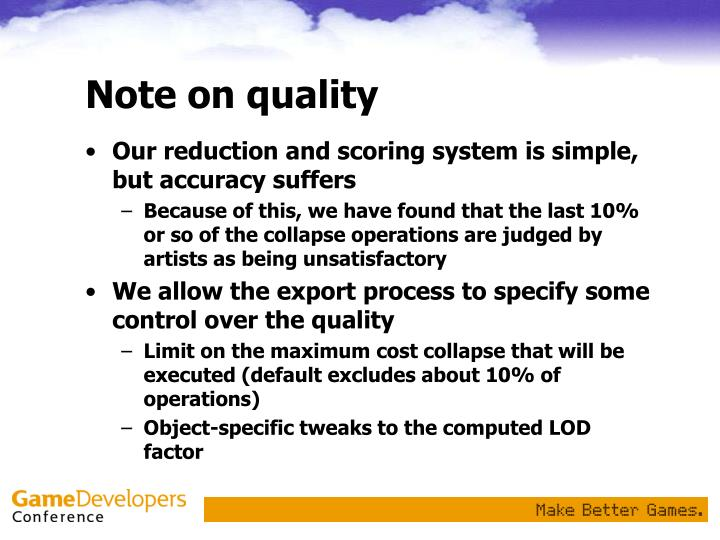 Note on quality