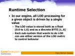 runtime selection