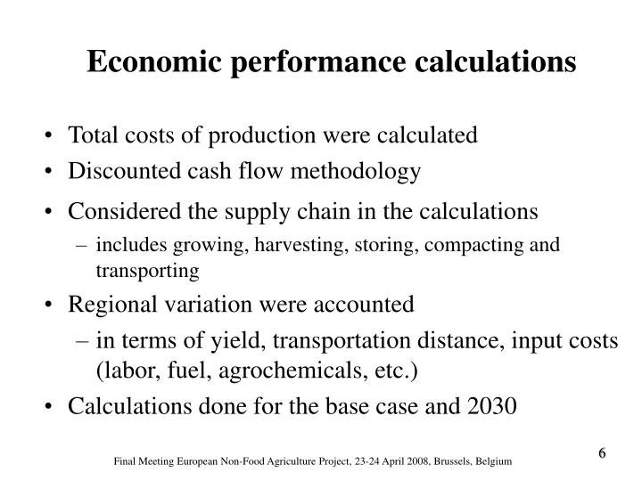 Total costs of production were calculated