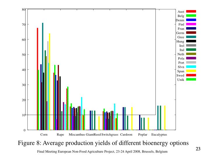 Figure 8: Average production yields of different bioenergy options