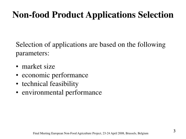 Non-food Product Applications Selection