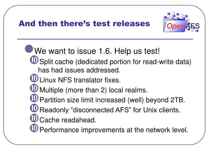 And then there's test releases