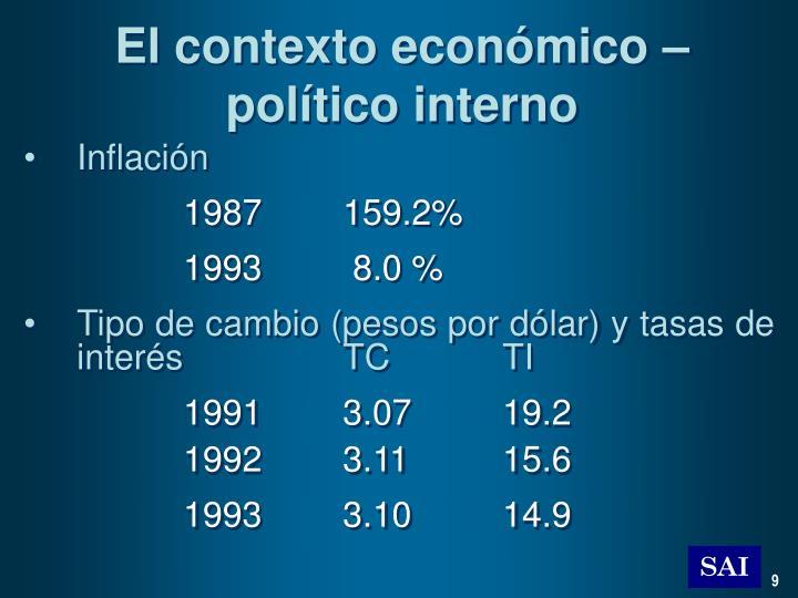 El contexto económico – político interno