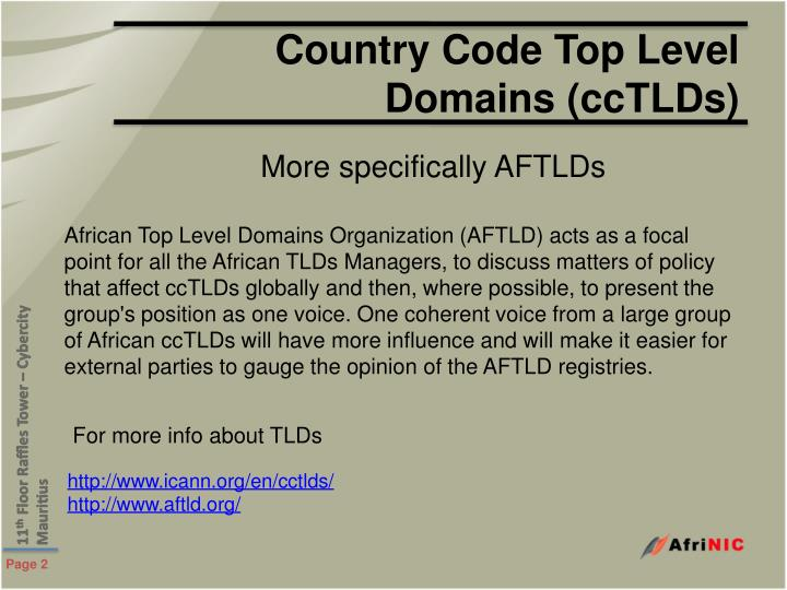 Country Code Top Level Domains (ccTLDs)