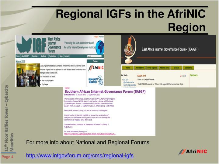 Regional IGFs in the AfriNIC Region