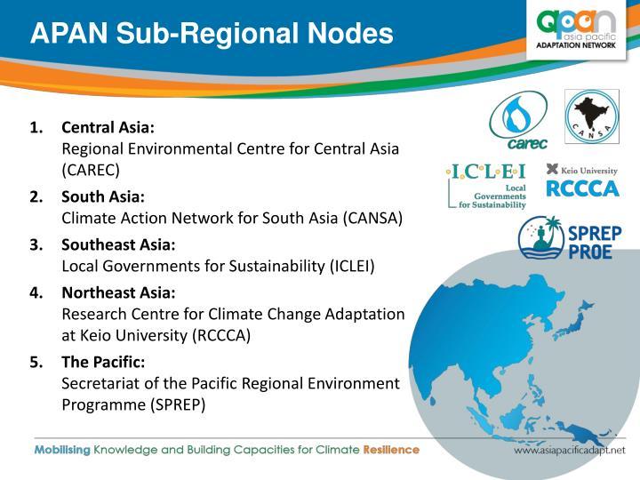 APAN Sub-Regional Nodes