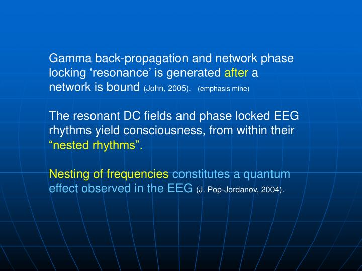 Gamma back-propagation and network phase locking 'resonance' is generated