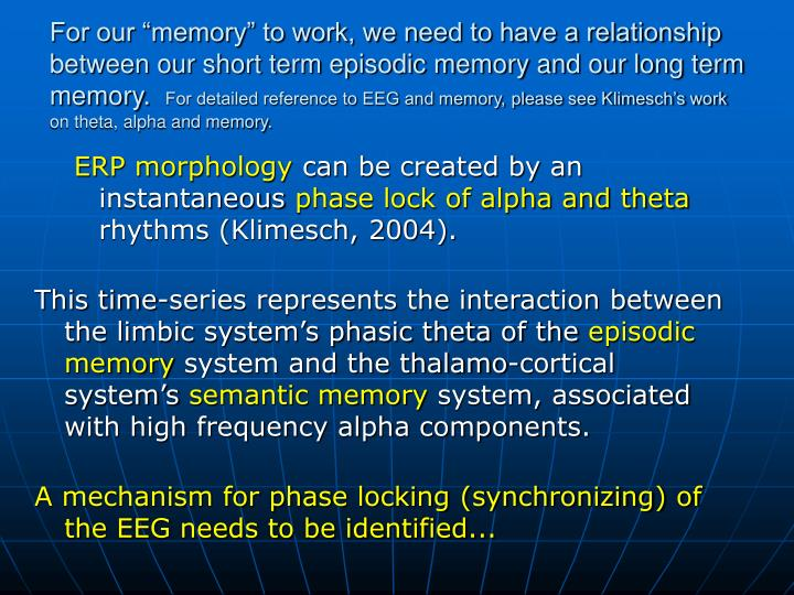 "For our ""memory"" to work, we need to have a relationship between our short term episodic memory and our long term memory."