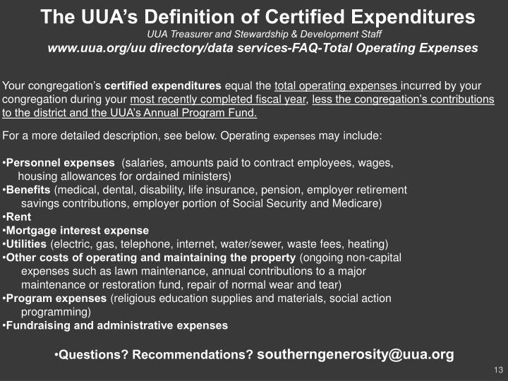 The UUA's Definition of Certified Expenditures