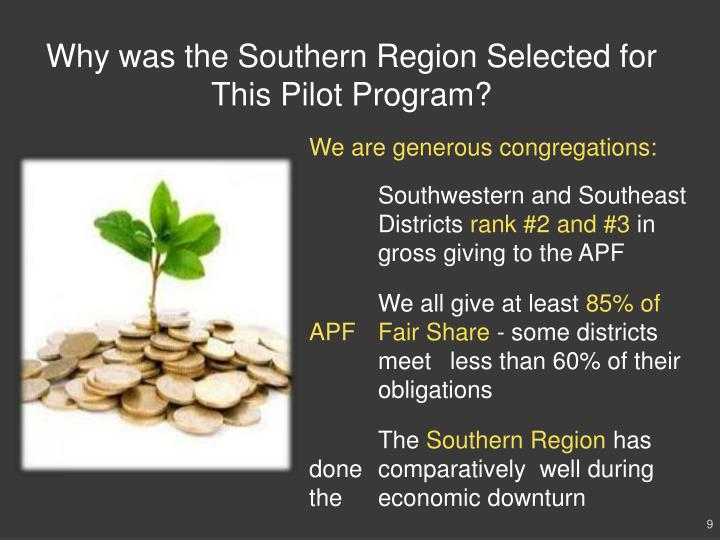 Why was the Southern Region Selected for This Pilot Program?