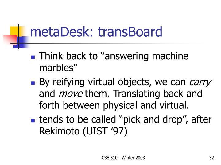 metaDesk: transBoard