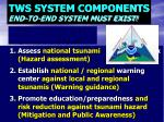 tws system components end to end system must exist