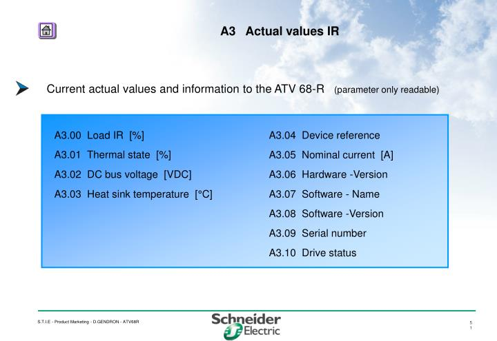 Current actual values and information to the ATV 68-R