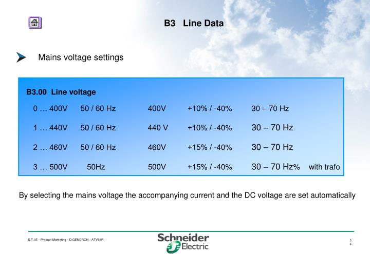 Mains voltage settings