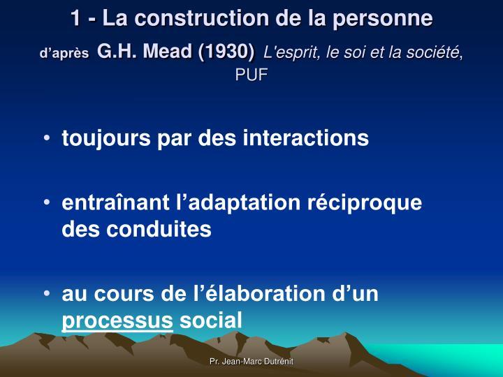 1 - La construction de la personne