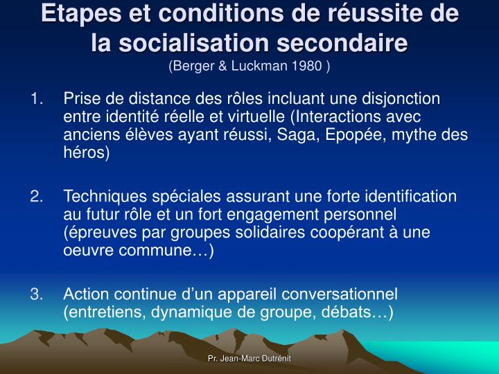 Etapes et conditions de réussite de