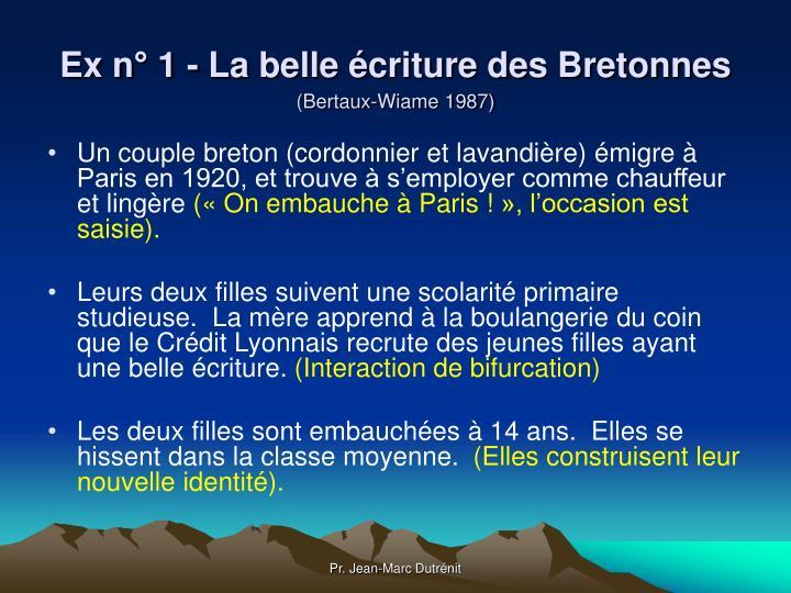 Ex n° 1 - La belle écriture des Bretonnes