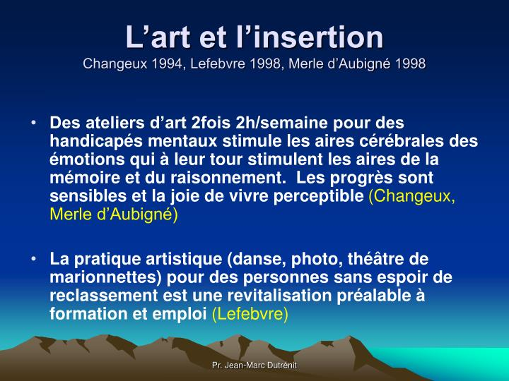 L'art et l'insertion