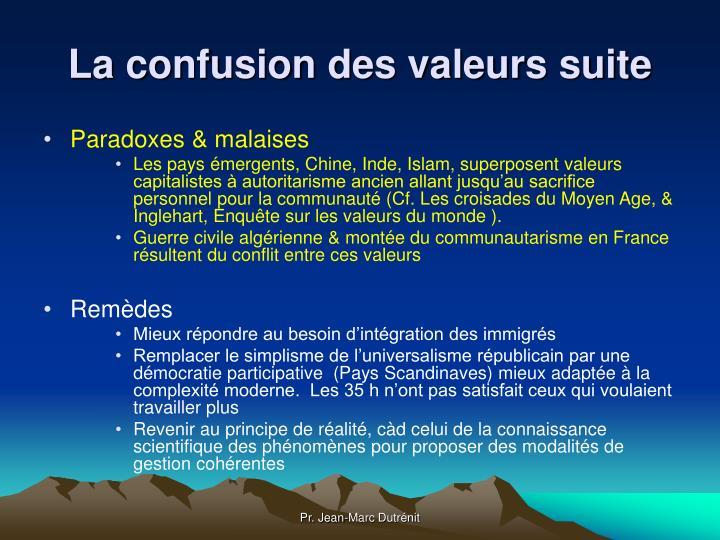La confusion des valeurs suite