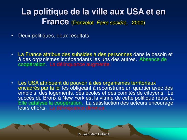 La politique de la ville aux USA et en France