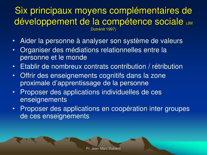 Six principaux moyens complémentaires de développement de la compétence sociale