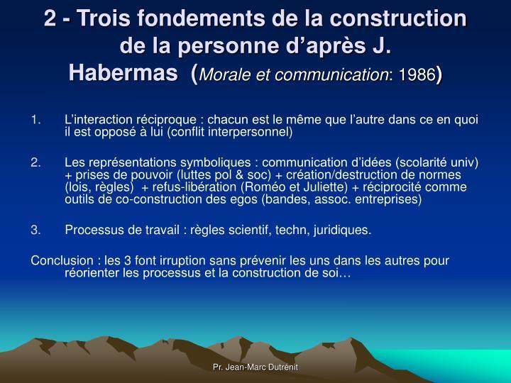 2 - Trois fondements de la construction de la personne d'après J. Habermas (