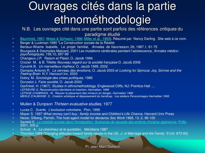 Ouvrages cités dans la partie ethnométhodologie
