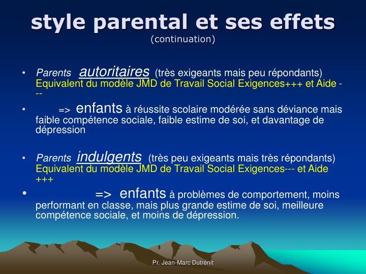 style parental et ses effets
