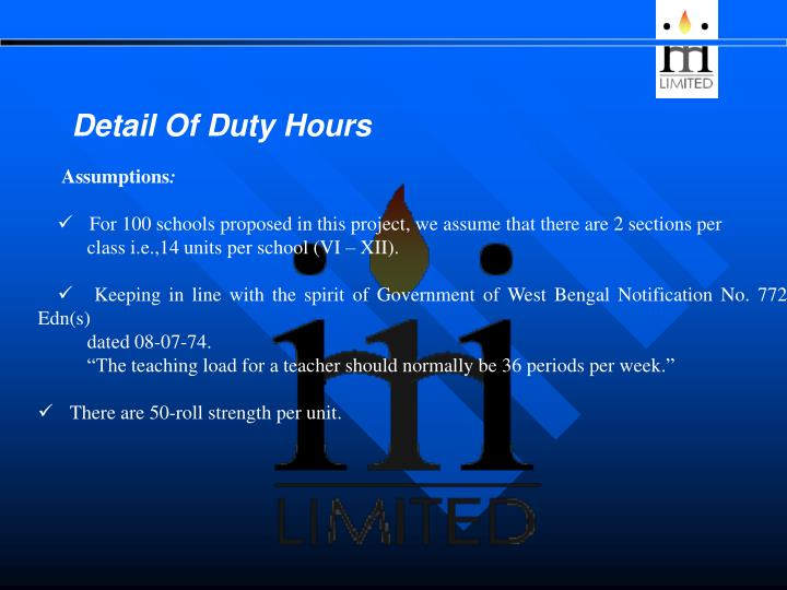 Detail Of Duty Hours