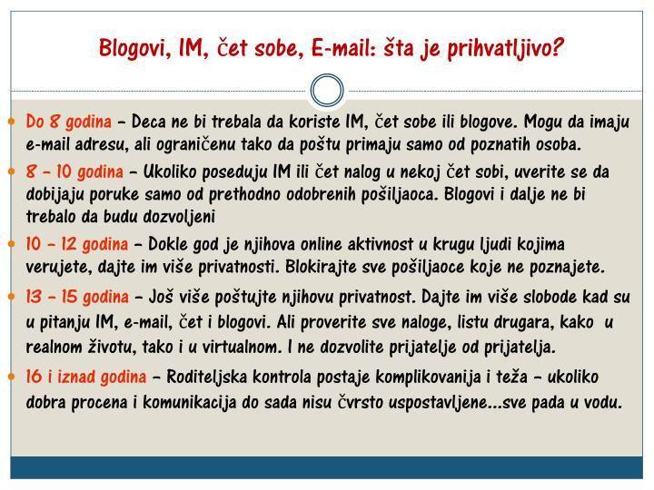 Blogovi, IM, čet sobe, E-mail: šta je prihvatljivo?