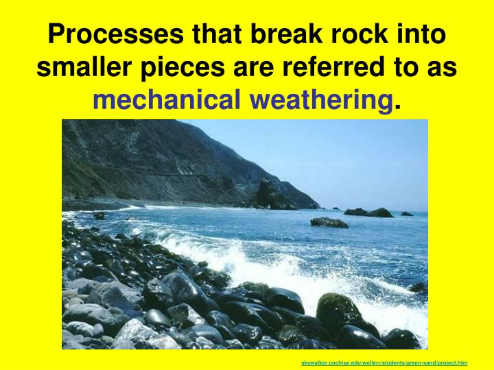 Processes that break rock into smaller pieces are referred to as