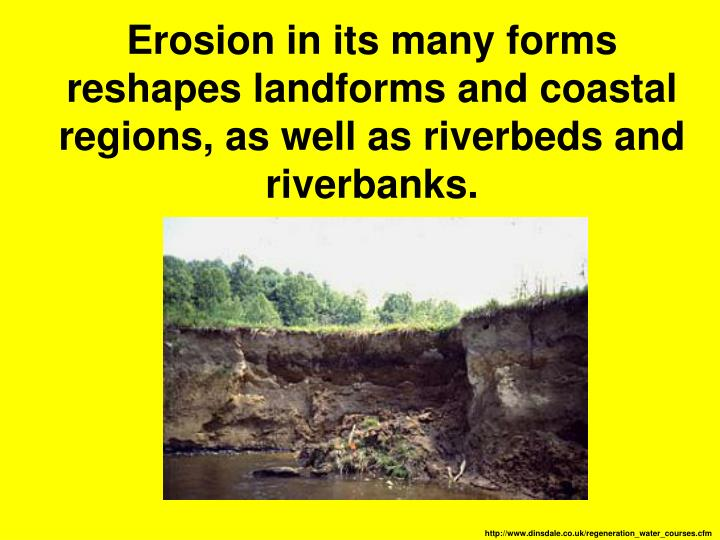 Erosion in its many forms reshapes landforms and coastal regions, as well as riverbeds and riverbanks.