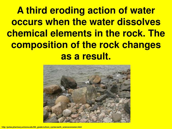 A third eroding action of water occurs when the water dissolves chemical elements in the rock. The composition of the rock changes as a result.