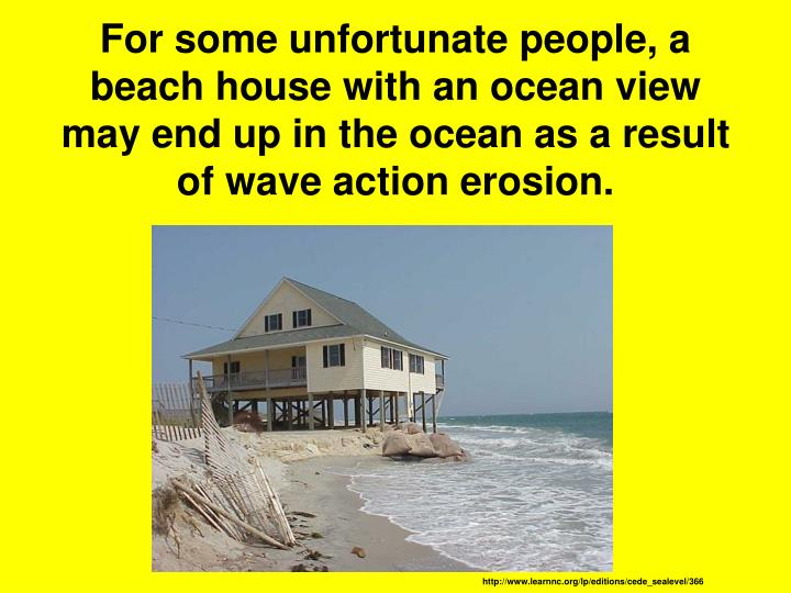 For some unfortunate people, a beach house with an ocean view may end up in the ocean as a result of wave action erosion.