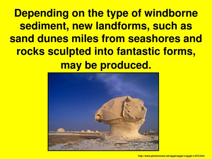 Depending on the type of windborne sediment, new landforms, such as sand dunes miles from seashores and rocks sculpted into fantastic forms, may be produced.