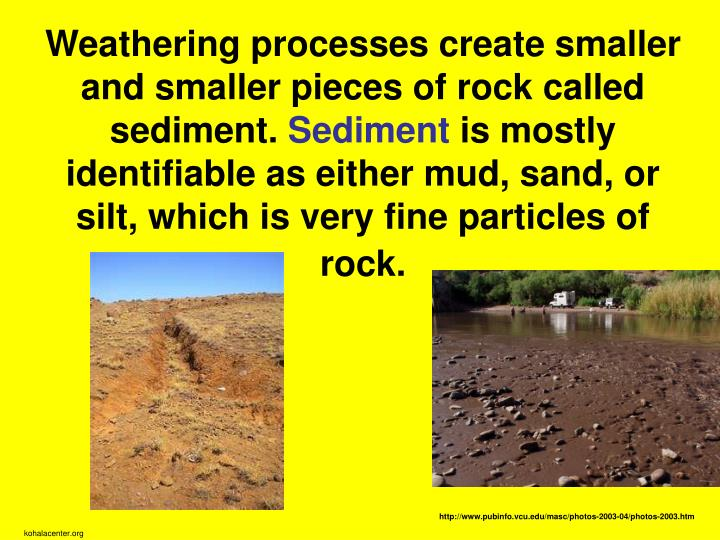 Weathering processes create smaller and smaller pieces of rock called sediment.