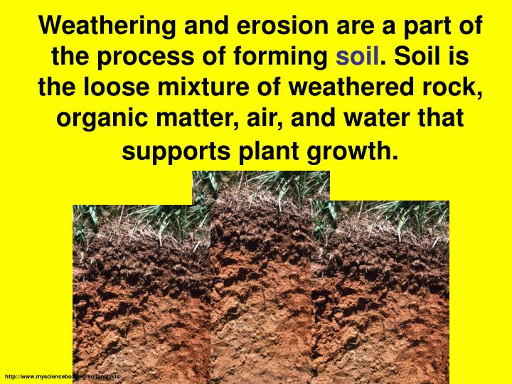 Weathering and erosion are a part of the process of forming
