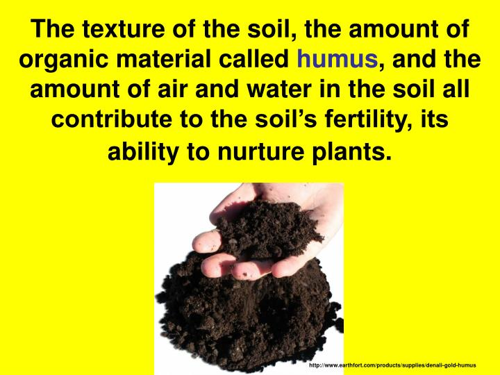 The texture of the soil, the amount of organic material called