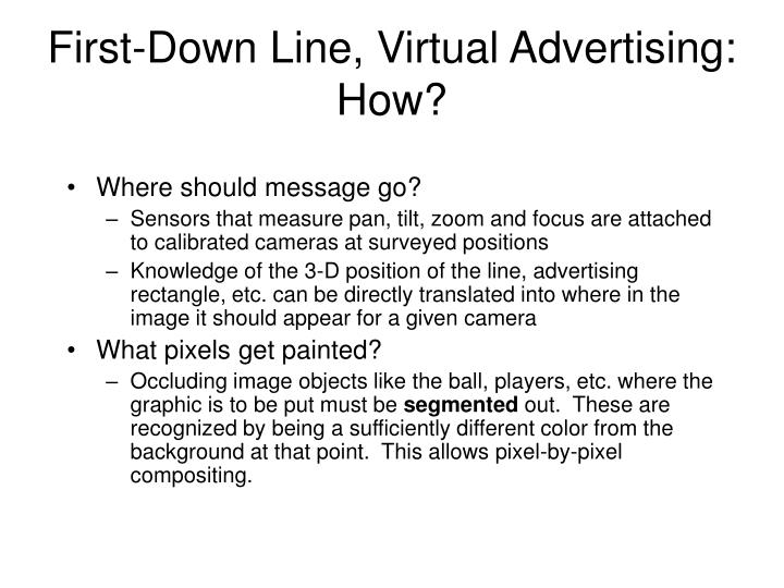 First-Down Line, Virtual Advertising: How?