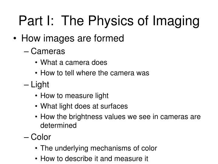 Part I:  The Physics of Imaging