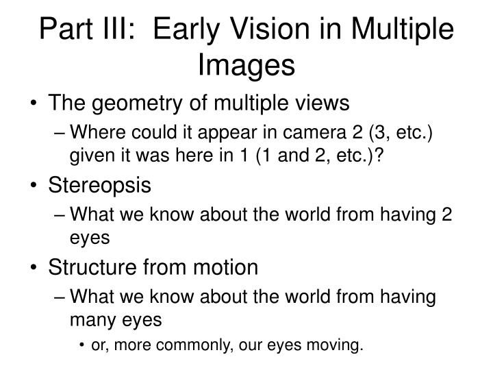 Part III:  Early Vision in Multiple Images