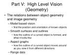 part v high level vision geometry