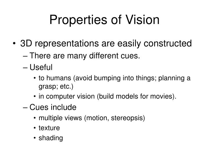 Properties of Vision