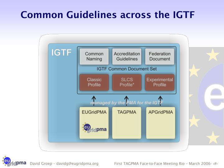Common Guidelines across the IGTF
