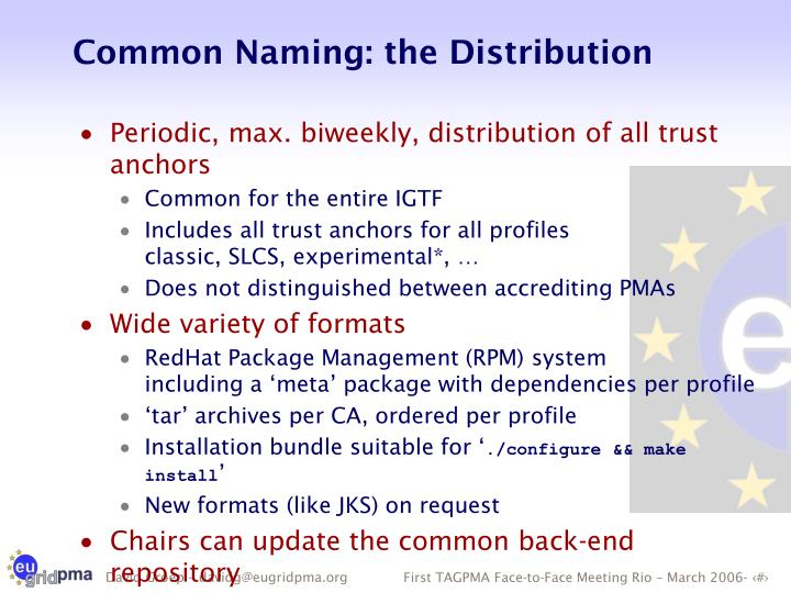 Common Naming: the Distribution