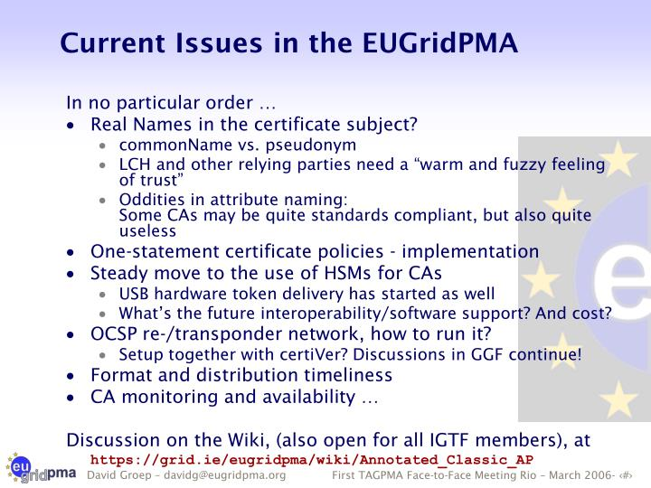 Current Issues in the EUGridPMA