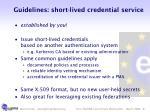 guidelines short lived credential service
