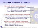 in europe at the end of datagrid