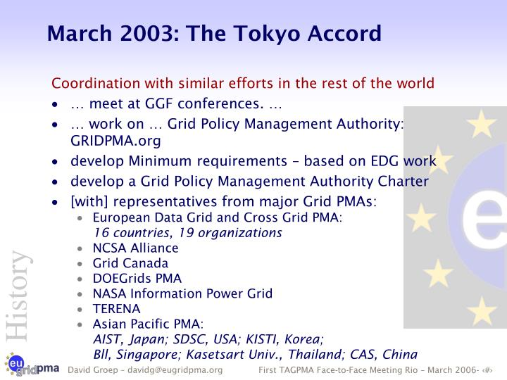 March 2003: The Tokyo Accord